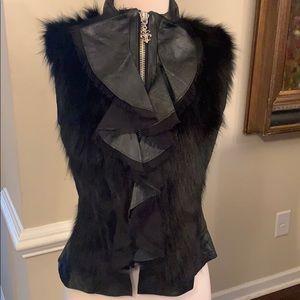 Stunning Royal Underground leather and fur vest